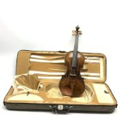 19th century German violin with 36cm two-piece maple back and ribs and spruce top, 59cm overall, in