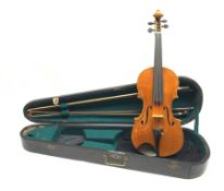 Late 19th century violin with 36cm maple back and spruce top, bears label 'Copy George Klotz Made i