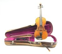 Early 20th century violin c1900 with 36cm two-piece maple back and ribs and spruce top, 59cm overall