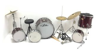 RTV 09/10/20 Aria five-piece drum kit with Hi-hat, crash and ride cymbals, stool, pedals, sticks etc