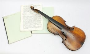Late 19th century German violin for completion with 36cm one-piece maple back and ribs and spruce t
