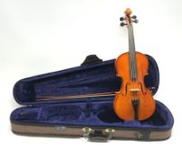 Stentor 'Student II' violin with 35.5cm two-piece back and spruce top, bears label, 59cm overall, in