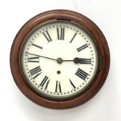 20th century wall clock in circular moulded oak case, enamel Roman dial, single train movement, D35c