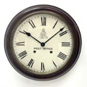Late 20th century circular stained beech cased dial clock, Roman dial fitted with quartz movement, D