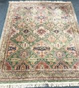 Nizam sage ground rug, repeating border, 300cm x 241cm