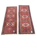 Persian red ground runner, repeating border (199cm x 71cm) and similar rug (188cm x 70cm)