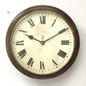 Early to mid 20th century circular mahogany cased dial clock, enamel Roman dial inscribed with the G