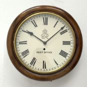 Early 20th century circular mahogany cased dial clock, the enamel Roman dial inscribed with the Geor