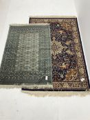 Shiraz blue ground rug, central medallion, repeating border (180cm x 120cm) and Bokhara green ground