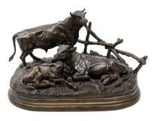 After Jules Moigniez (French 1835-1894), bronze figure group modelled as a bull, cow and calf on nat