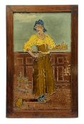 20th century large Burmantofts Faience architectural tile plaque, The Maide at The Inn, designed by