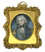 19th century oval painted portrait miniature upon ivory, depicting head and shoulder portrait of Adm