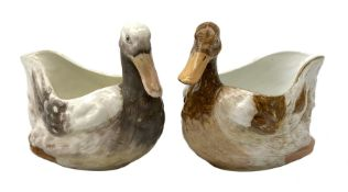 Two early 19th century Derby sauce boats, modelled in the form of birds, the head and neck forming t
