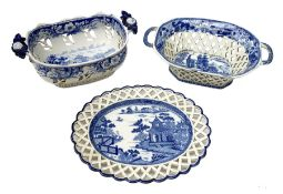 Mid 19th century blue and white transfer printed pearlware reticulated chestnut basket, of oval form