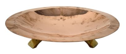 Birmingham Guild of Handicraft copper bowl, of circular form, the broad rim stamped with circles and