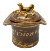 Edwardian silpware jar and cover, modelled as a top hat, inscribed E. Thompson 1901, the associated