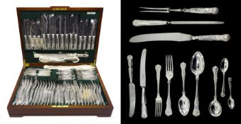 Canteen of silver cutlery for eight covers, Kings pattern, the knives with stainless steel blades by
