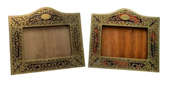 Two late 19th/early 20th century Boulle type marquetry frames, of rectangular form with arched top a