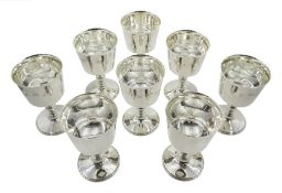 Set of eight silver goblets by Barker Ellis Silver Co, Birmingham 1973, H12cm approx 38oz
