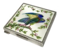 Silver and enamel compact, of square form with engine turned decoration to the sides and back, the h