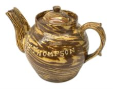 Edwardian slipware double spouted teapot, inscribed to body Mary E. Thompson Oct 29 1903, H19cm