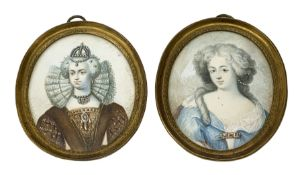 Pair of 19th century oval painted portrait miniatures upon ivory, the first example depicting Queen