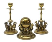 19th century gilded desk set, comprising pair of candlesticks and globular inkwell, each detailed wi