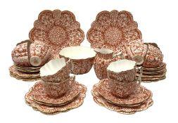 Wileman & Co (Foley) Snowdrop pattern tea service c1899, comprising twelve trios, two cake plates,