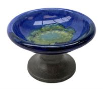 William Moorcroft for Liberty & Co, small pedestal dish, the shallow bowl decorated in the Moonlit B