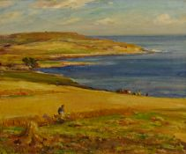Owen Bowen (Staithes Group 1873-1967): Harvest Time on the Solway Firth Coast, oil on canvas signed