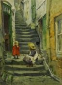 Albert George Stevens (Staithes Group 1863-1925): Children on the Steps Whitby, watercolour signed