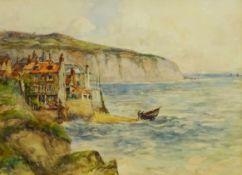 James Ulric Walmsley (British 1860-1954): Robin Hoods Bay, watercolour signed 28cm x 38cm DDS -