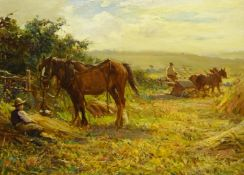 Ernest Higgins Rigg (Staithes Group 1868-1947): The Harvest Field with Horse Drawn Binder, oil on ca