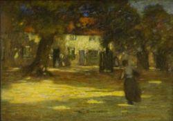 Mark Senior (Staithes Group 1862-1927): Village Cottages in Dappled Sunlight, pastel signed 26cm x 3
