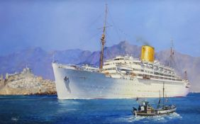 Colin Verity (British 1924-2011): 'Royal Mail Lines SS Andes Cruising in the Mediterranean', oil on