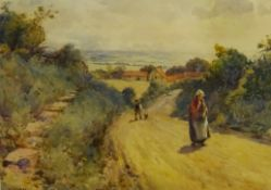 Albert George Stevens (Staithes Group 1863-1925): Figures on a Yorkshire Lane, watercolour signed 35