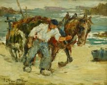 Impressionist School (Early 20th century): The Seaweed Gatherer, oil on board indistinctly signed 20