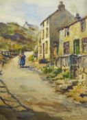 James William Booth (Staithes Group 1867-1953): Cowbar Bank Staithes, watercolour signed 38cm x 28cm