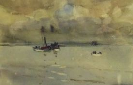 Joseph Richard Bagshawe (Staithes Group 1870-1909): Steam Trawler off the Coast, watercolour, authe
