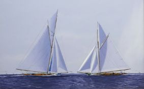 James Miller (British 1962-): America's Cup Series the 10th Challenge 1899 'Columbia' & 'Shamrock',