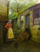 Ernest Higgins Rigg (Staithes Group 1868-1947): Mending the Lobster Pot outside Spout Cottage Runswi