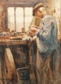 Albert George Stevens (Staithes Group 1863-1925): A Whitby Jet Worker, watercolour