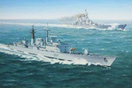 George Heiron (British 1929-2001): 'USS Missouri with HMS Edinburgh at Full Steam' - First Gulf War,