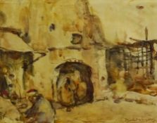 William (Fred) Frederick Mayor (Staithes Group 1866-1916): 'Street in Tangier', watercolour signed 3