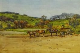 John Atkinson (Staithes Group 1863-1924): Yorkshire Landscape with Working Horses, watercolour signe