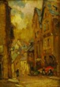 Owen Bowen (Staithes Group 1873-1967): 'A Street in Dinan', oil on panel, inscribed dated 1934 and t