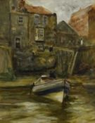 Robert Jobling (Staithes Group 1841-1923): Coble at Staithes, watercolour signed