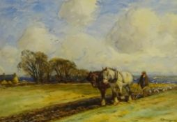 John Atkinson (Staithes Group 1863-1924): Ploughing Team, watercolour signed 37cm x 53cm