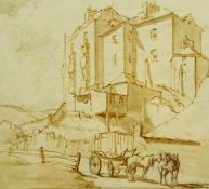 R J Wee (Sottish 19th century): Study of Town Houses, monochrome wash indistinctly signed 16cm x 18c