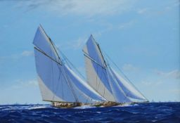 James Miller (British 1962-): America's Cup Series the 13th Challenge 1920 'Shamrock IV' & 'Resolute